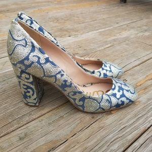 Sam Edelman Gold Blue Stillson Brocade Heels Shoes